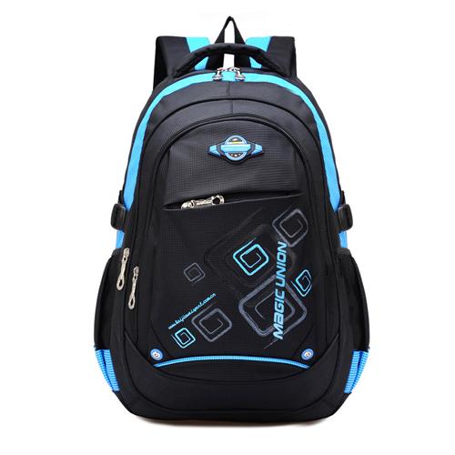 Рюкзак школьный (черный с голубым)