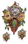Временная татуировка Сова (цветная)