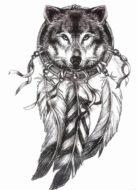 Временная татуировка Волк
