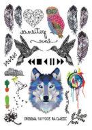 Набор временных татуировок Волк и Перья
