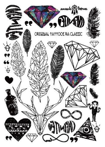 Набор временных татуировок Перья и Бриллианты